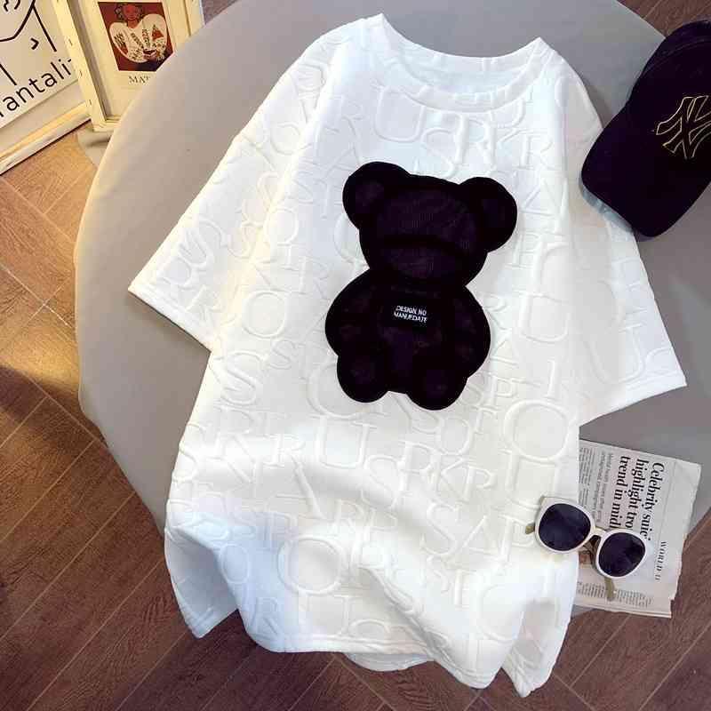 Mulheres camisetas Garotas de Harajuku Mais tamanho Tops Letra Jacquard O-pescoço de mangas curtas soltas Verão solto Tshirt Urso Branco Tees M-5XL 210322