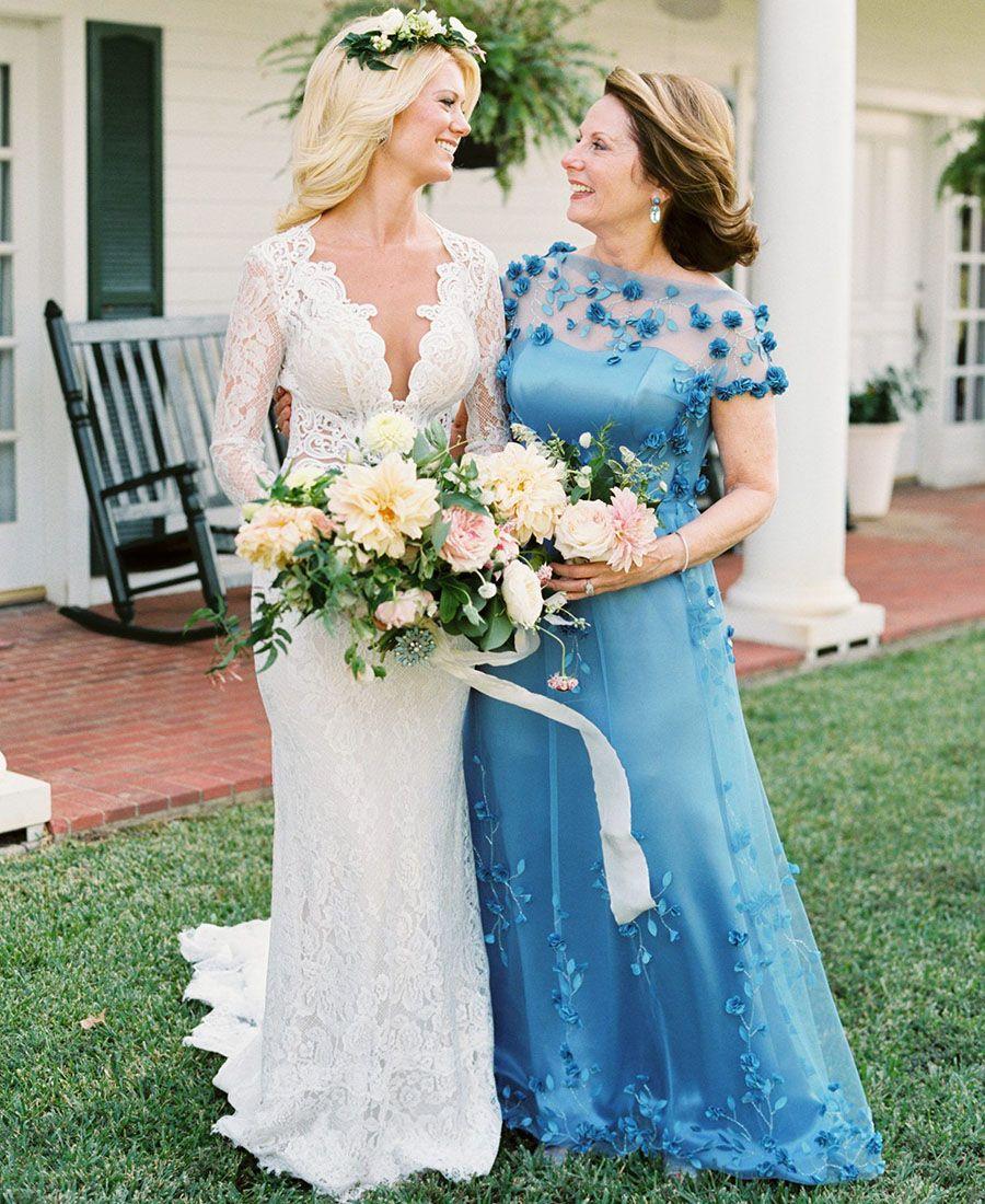 ضوء السماء الزرقاء اللون الأم من فساتين العروس الدانتيل تول الطابق طول الزفاف العريس الضيوف العباءات مخصص زائد حجم المتاحة