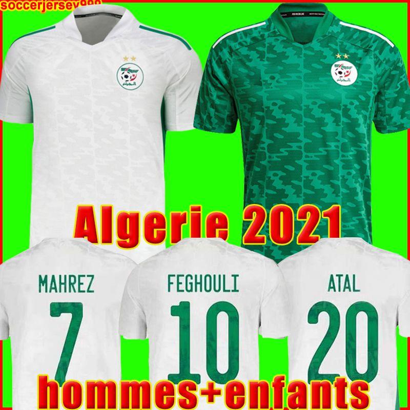 Cezayir futbol forması 2021 Cezayir Taraftarları oyuncu versiyonu evden uzakta MAHREZ FEGHOULI BENNACER ATAL 20 21 futbol takımları gömlek erkek + çocuk kiti setleri