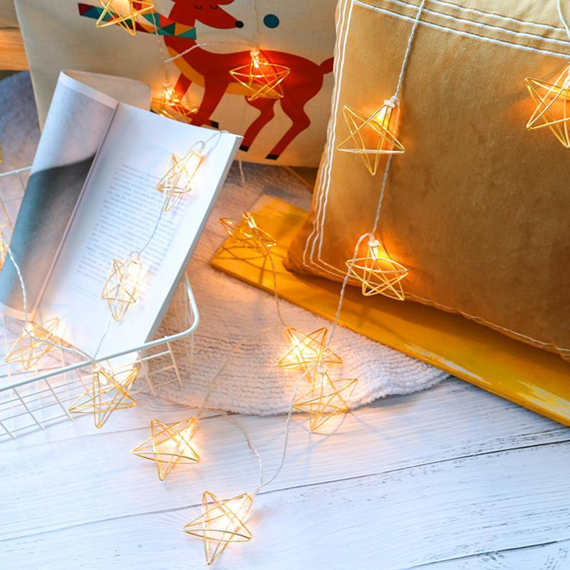 10pcs LED Star String Lights Metallo 1.5M On / Off Button Fata Luce della fata Batteria Decorativa per la casa per uso interno interno