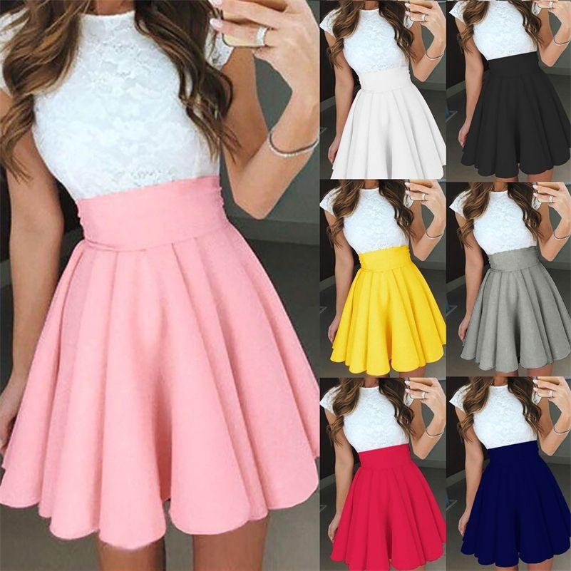 Frauen einfarbig hohe Taille gefaltete Rock Frühling Sommer lässig A-line Röcke Uniform Mini kurze Röcke 210319