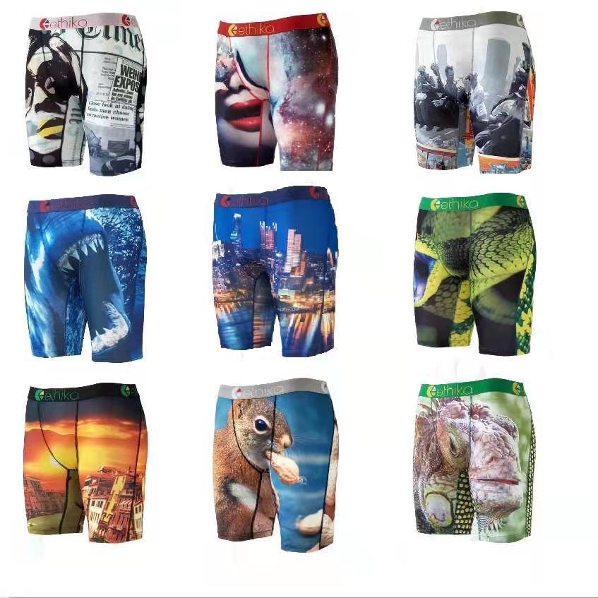 Etika Mens Biancheria intima Poliestere Underpants Spandex Boxer Long Leg Brand Brand Sexy U Portabicchieri Uomo Traspirante Stampa Gay Boxer Uomo 10 Stili S-XXL