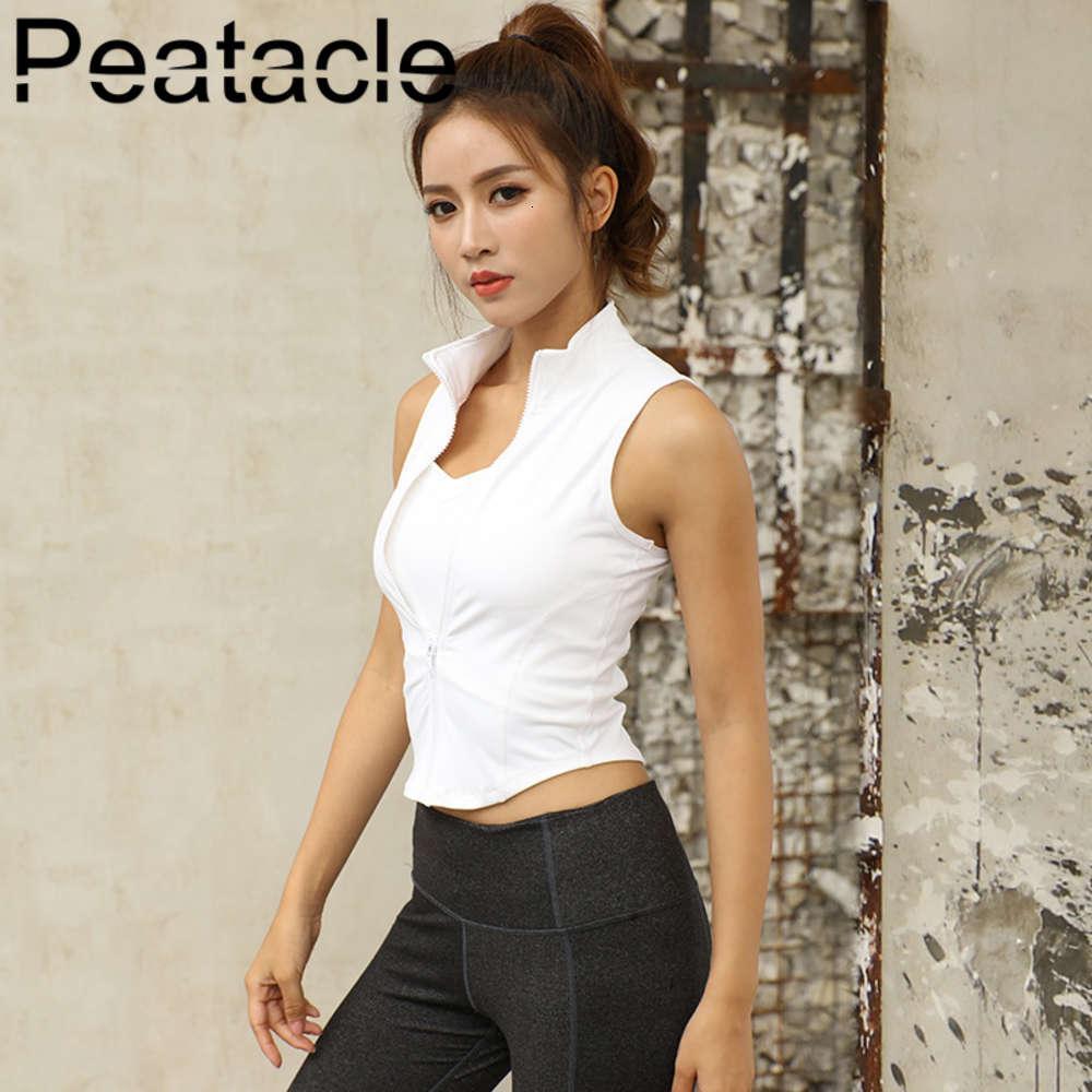 Peatacle Fitness Kleidung Weste Reißverschluss Schnell trocken Atmungsaktive ärmellose Laufjacke Yoga Shirt Frauen Training Sport Tops