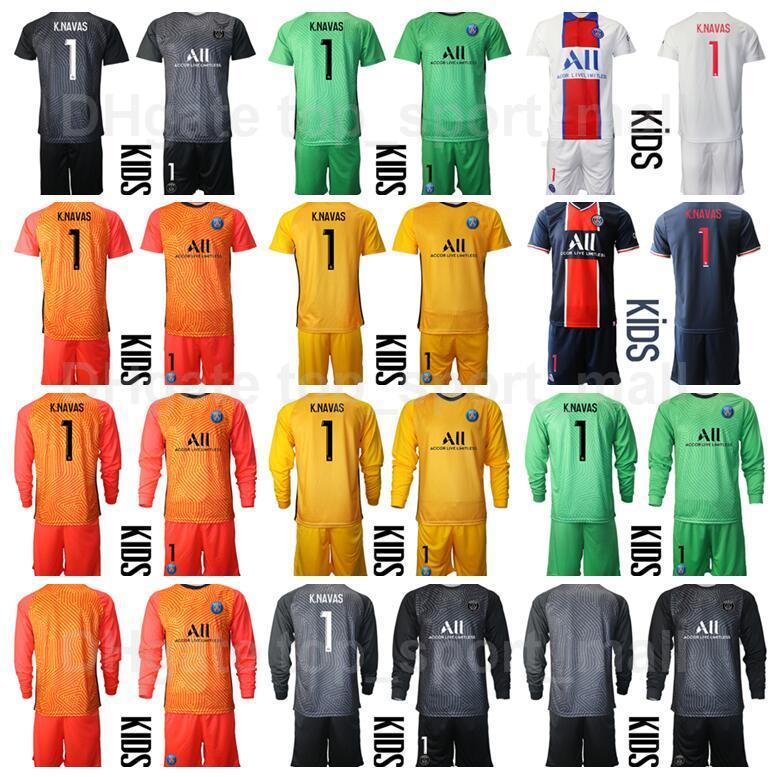 Club Team Kids Longs Menseve Portero Fútbol Juventud Keylor Navas Jersey Portero Set Sergio Rico Nicolas Douchez Alphonse Areola Football Shirt Kits B-L