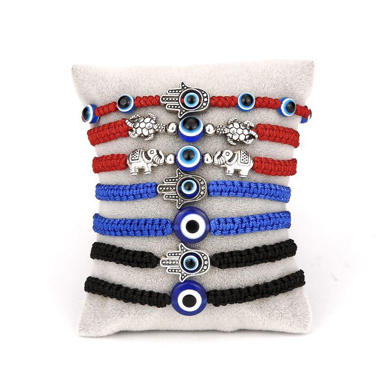 محظوظ الأزرق الشر سحر سحر أساور اليدوية الأسود الأحمر سلسلة موضوع حبل جديلة سوار زوجين مجوهرات للنساء الرجال الهدايا