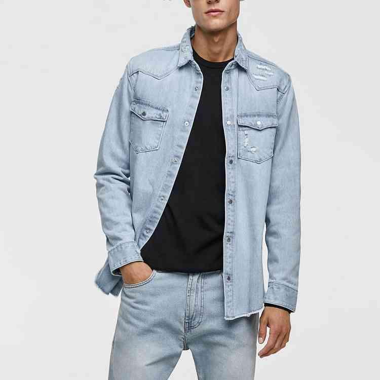 셔츠 도매 캐주얼웨어 구멍 장식 데님 남성 셔츠