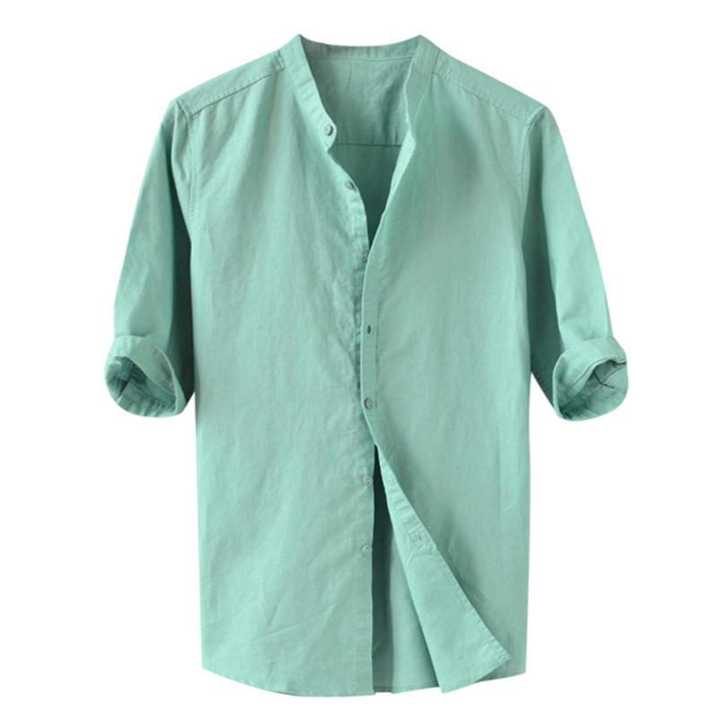 Summer Men's Shirts Button Five-point Sleeve Cotton Linen Comfortable High Quality Breathable Solid Casual Male