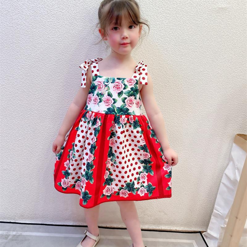 الفتيات فساتين الفاخرة الأزهار المطبوعة كشكش strappy الأميرة حفل زفاف اللباس الاطفال مصمم ملابس الأطفال بوتيك الملابس