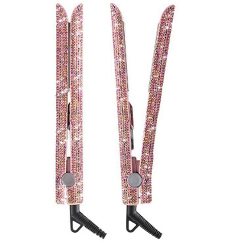 Diamante di cristallo a mano a mano raddrizzatore per capelli con diamante a mano con display LCD Strass frizzante Strass tagliatori in titanio