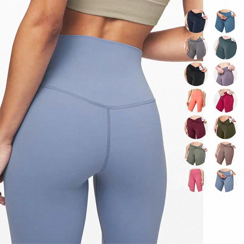 LU-25 32 Bayan Yoga Tayt Takım Elbise Pantolon Yüksek Bel Hizala Lu Spor Yükseltme Hips Spor Giyim Elastik Fitness Tayt Egzersiz Spor Setleri U60R #