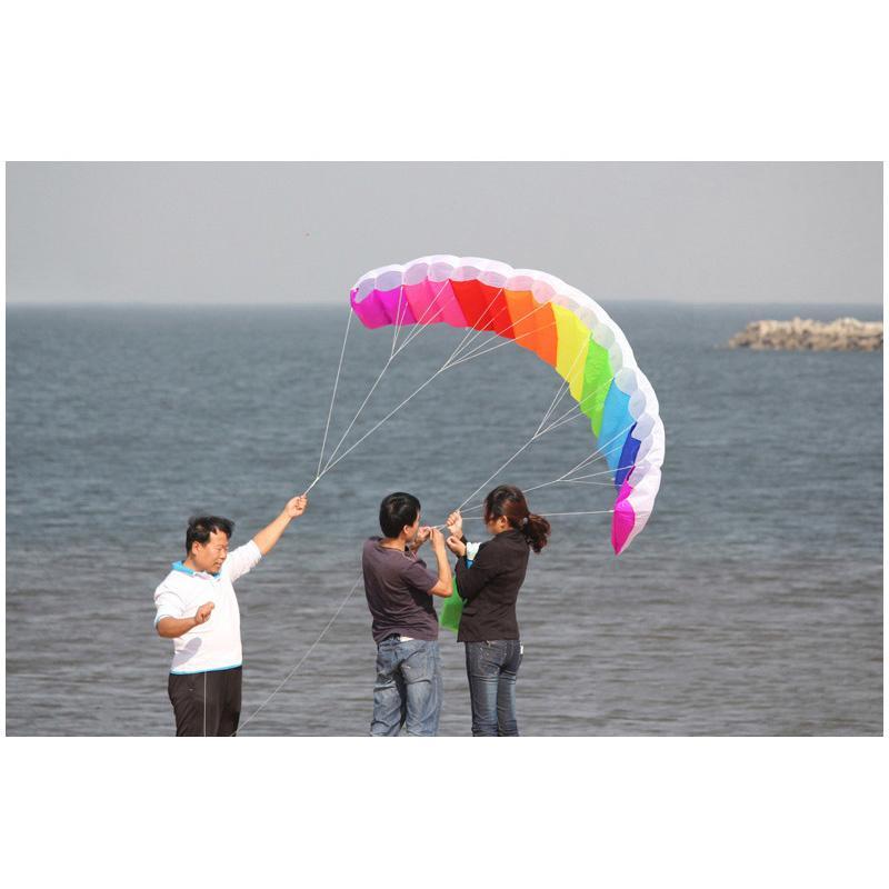 2m Puissance Dual Line Stunt Parafoil Power Sport Kite Parachute Rainbow Nice Plage Kite avec 2pcs 30m de haute qualité Nylon Flying Lines