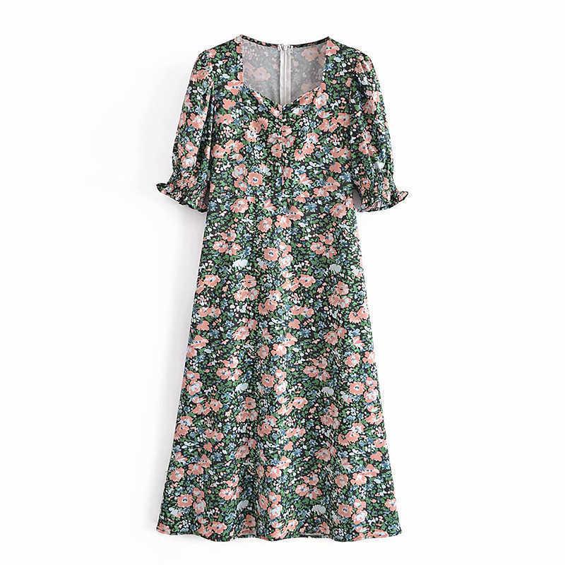 Sommer Frauen Lange Floral Split Kleid Square Kragen Kurzarm Weibliche Chic Elegante Kleid Vestidos AZ5089 210603