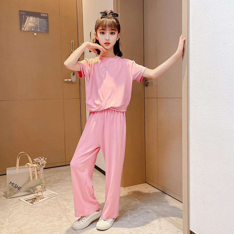 Sportswear Big Girl Clothes Short Sleeve Trousers Two Piece School Kids Roupas Infantil Casual 2021 Baby Clothing Sets