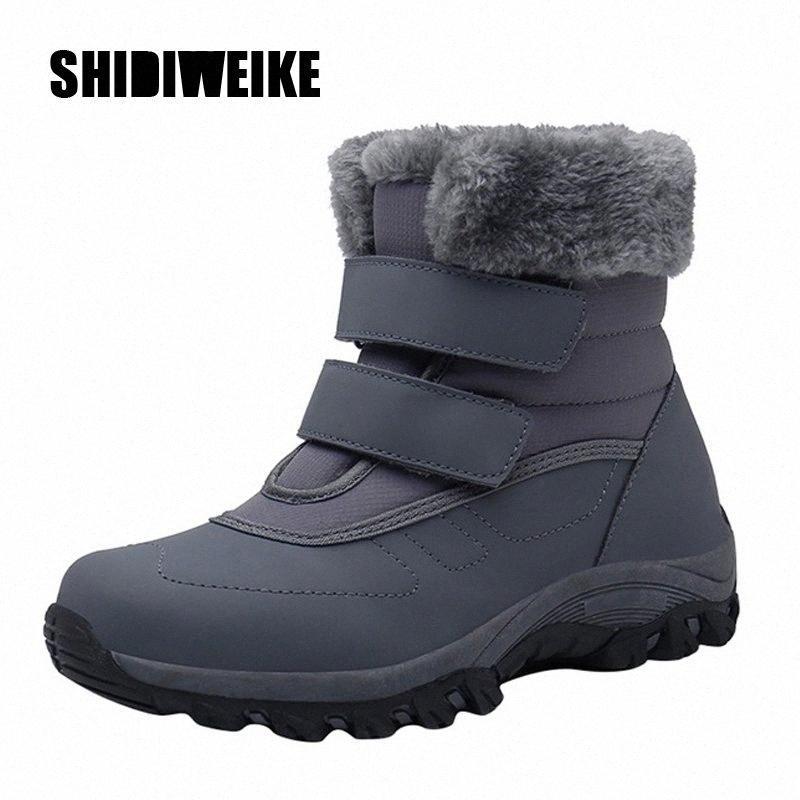 Mulheres inverno gancho loop impermeável botas de algodão casual plush flat botas de neve lazer manter mornos sapatos sapatos zapatos de mujer camurça botas homens fr y3zz #