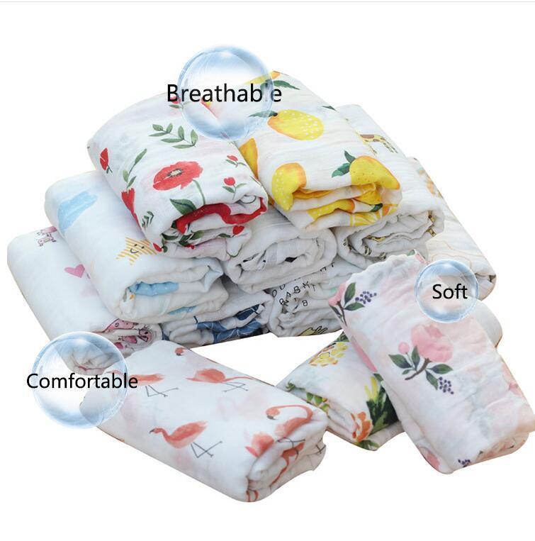 الرضع Swaddling القماش بطانية مطبوعة حمام منشفة المنسوجات المنزلية مزدوجة الطبقات الشاش المجمع الرسوم المتحركة عربة طفل عربة يغطي WMQ683
