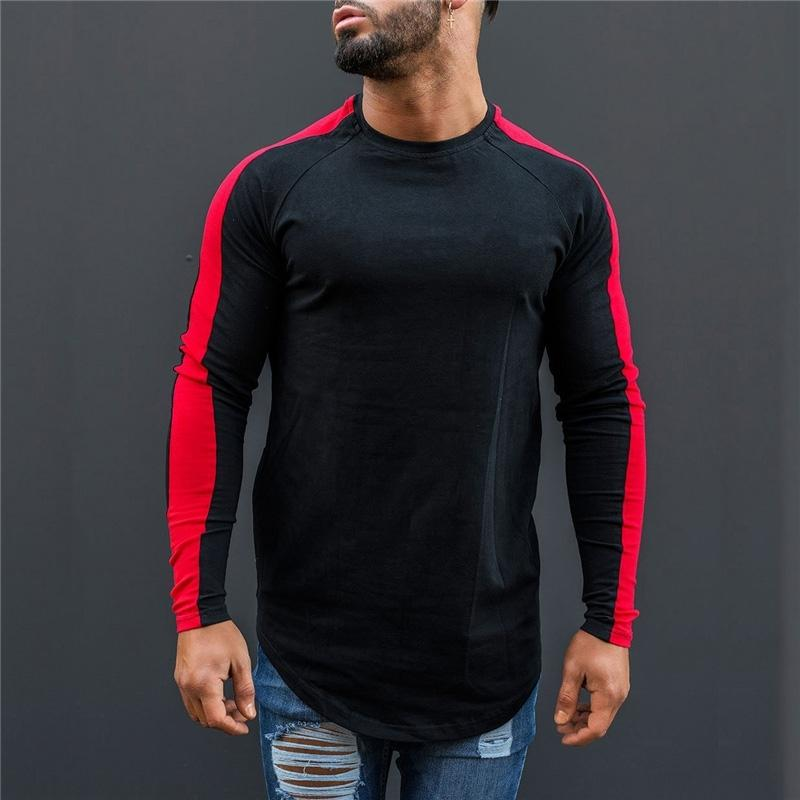 MuscleGuys camiseta hombres primavera otoño nuevo manga larga o-cuello t shirt hombres marca ropa moda patchwork algodón tee tops 210317