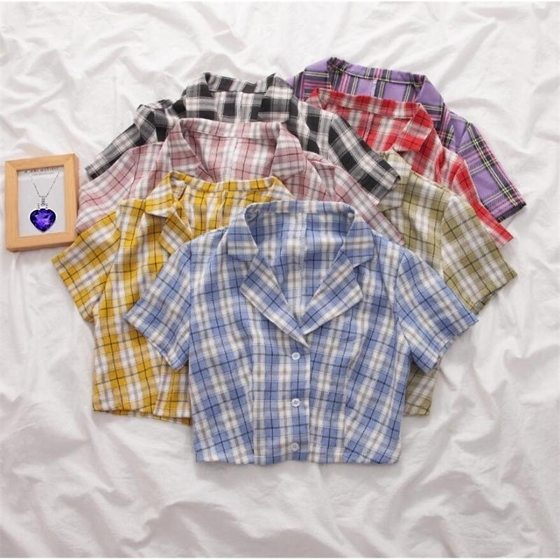 Verão Blusa Coreana Mulheres Vintage Crotes Crotes Streetwear Manta Senhoras Tops Elegante Botão Acima Camisa Crop Top Camisas 210320