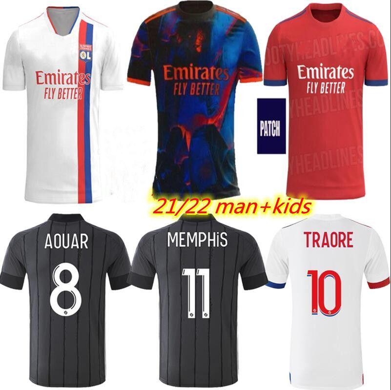 21 22 Olympique Lyonnais Lyon Digital 4th Jersey Maillot de Pé 2021 Ol Mendes L.Paquetá Aouar Cherki Bruno G. Homens Quarto Kit Football Shirts