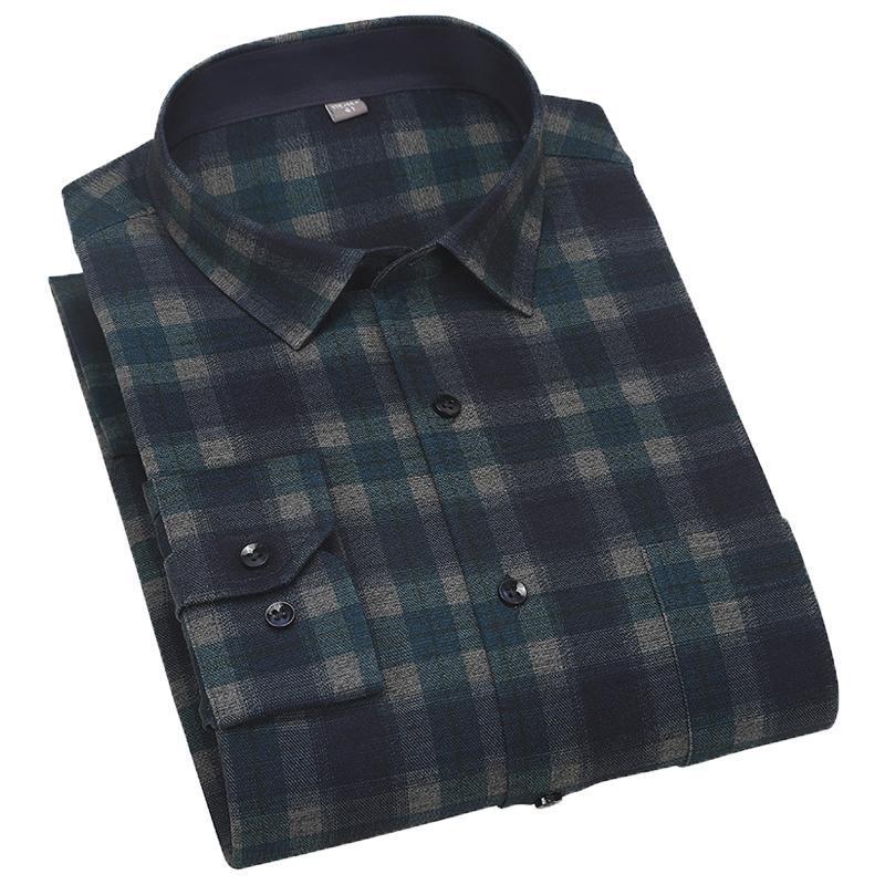 Aoliwen 남자 봄 가을 45 % 코 튼 그린 블랙 격자 무늬 셔츠 트렌디 캐주얼 소프트 통기성 편안한 긴 소매 슬림 셔츠 남자
