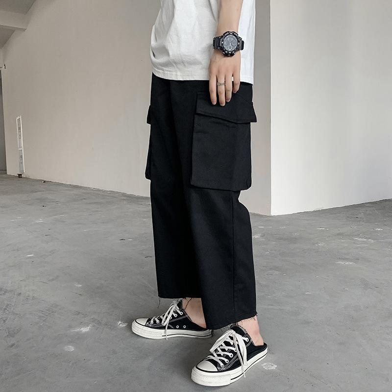 Pantaloni da uomo Retro Pantaloni Flanella Slip Straight Summer Fashion Brand Youth Wide Gambo Drop Sensazione