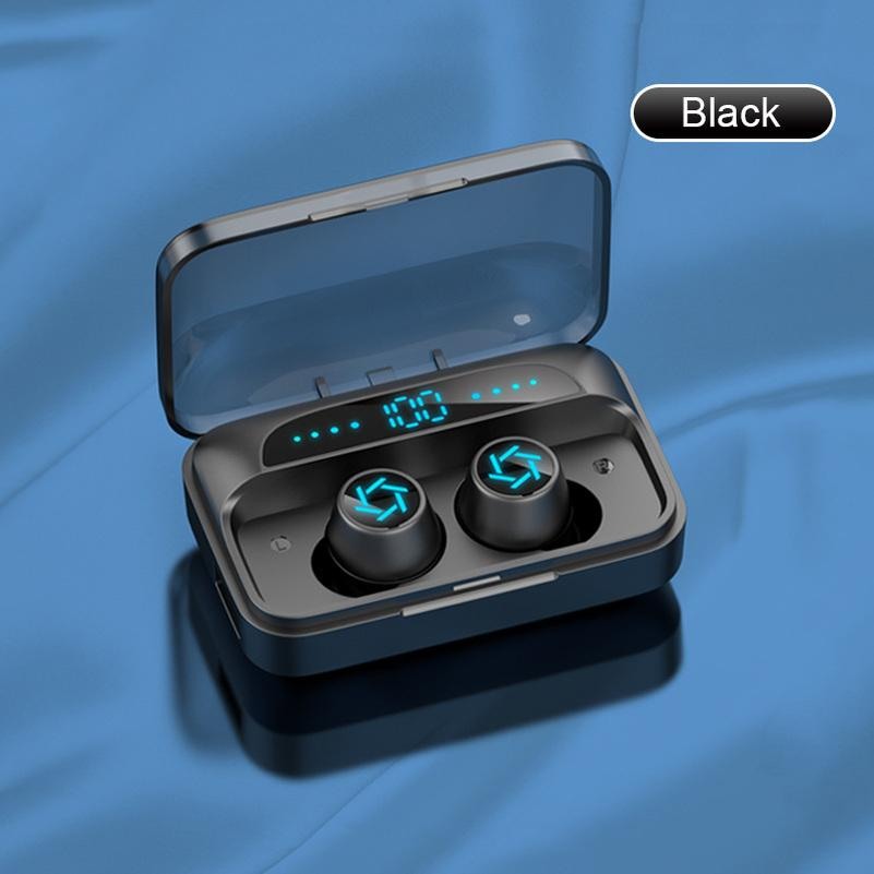 S15 Bluetooth Earphone Touch Fingerprint TWS Wireless Headphones 8D Stereo Noise Reduction Handsfree Headset Earbuds for Phone Black White