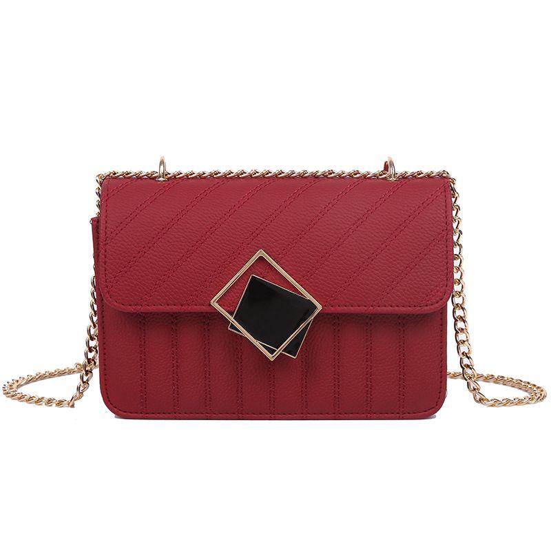 PB0009 4Colors 패션 다이아몬드 금속 장식 다용도 체인 가방 하나 어깨 메신저 가방 PU 가죽 핸드백