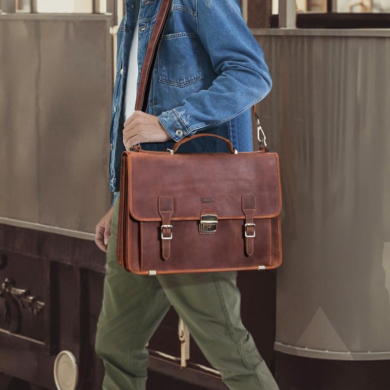 Evrak Çantaları Hakiki Deri erkek Evrak Çantası Büyük Kapasiteli 15.6 inç Laptop Çantası Iş Çanta Erkek Kilit Omuz Messenger Çanta1 32IH