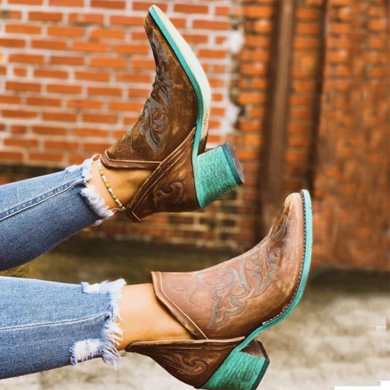 الأحذية أزياء الخريف الشتاء عارضة الغربية كاوبوي الكاحل النساء راعية البقر التمهيد القصير القوزاق الكلاسيكية القوارب أحذية عالية الكعب