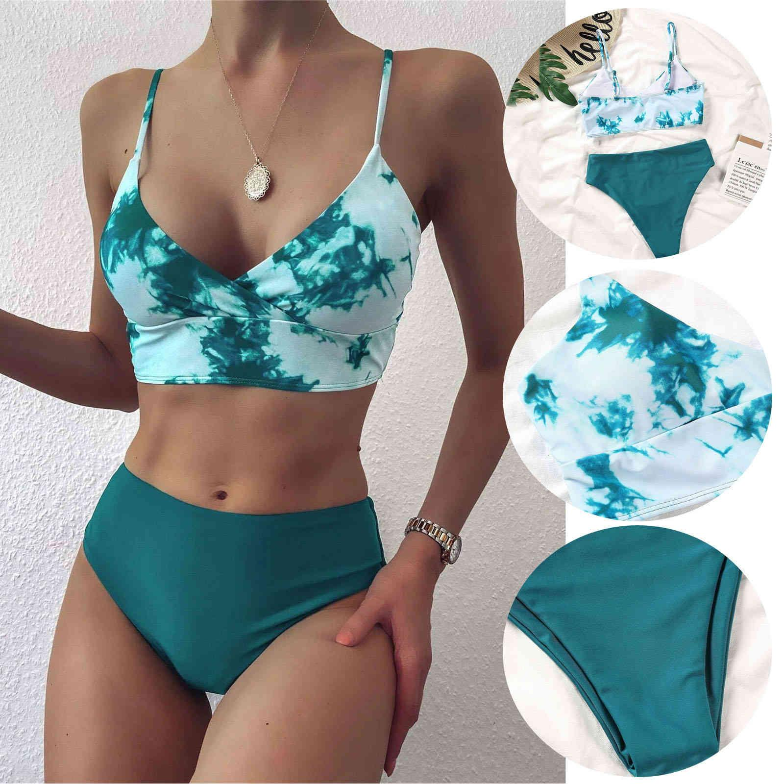 Moda Mulheres Bandeau Bandau Bandage Bikini Set Push-up Brasileira Badmode Tie-Dye Imprimir Beachwear Badsuit High Wist