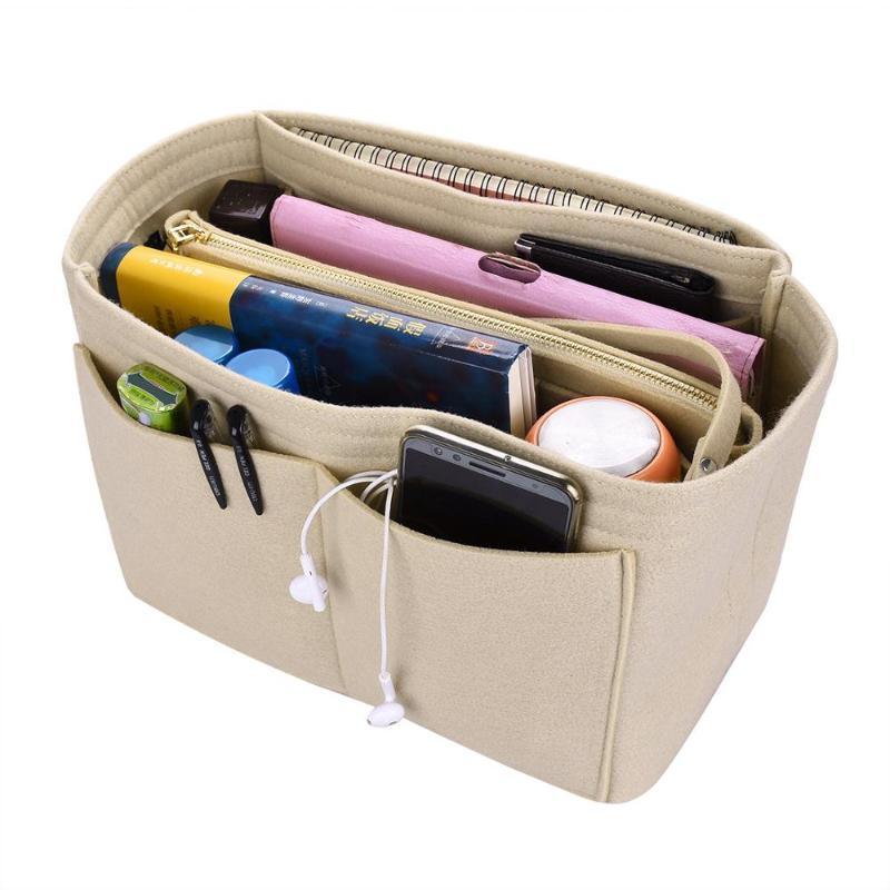 Las mujeres maquillan la bolsa de inserción de la bolsa de inserción de alta capacidad para el bolso cosmético de fieltro de mano se ajusta a varias marcas S / M / L de almacenamiento