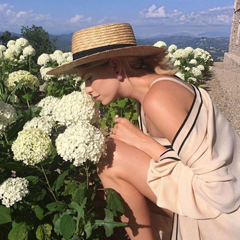 Летняя соломенная пляж женский лук солнцезащитный крем открытый купол плоский верх