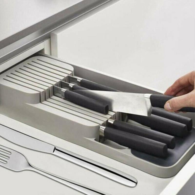 Faca Compact Armazenamento Armazenador Organizador Cutlery Rack Lâmina de Segurança Titular Da Bandeja Divisórias Armazenador Organizador