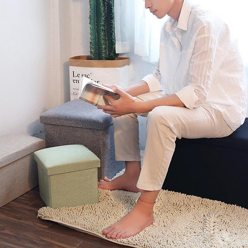 Folding Shoe Bench Footstool Can Sit Simple Fabric Toy Book Storage Stool Box Kitchen Sundries Clothing Blankets Organizer Boxes Bottles & J