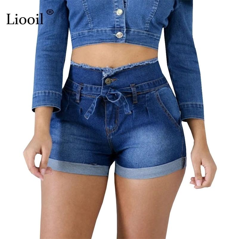 LIOOIL Casual Casual Blue Taille High Taille Shorts Femmes Vêtements Streetwear Coton Dace-Up Sexy Slim Rave Jean Shorts avec poches 210323