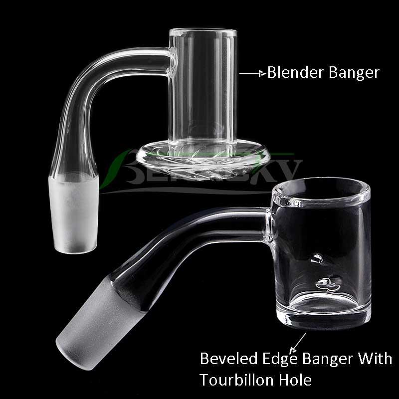 Beracky Two Styles Beveled Edge Tourbillon/ Spinning Blender Smoking Quartz Banger 10mm 14mm 18mm 45*90 Male Female Nails For Glass Bongs Dab Rigs