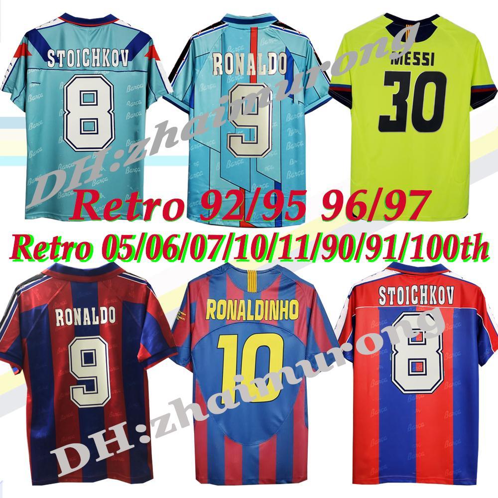 الرجعية Soccer Jersey Ronaldo Stoichkov Ronaldinho 92 95 96 97 05 06 10 11 90 91 100th Rivaldo Guardiol A Iniesta Messi Xani Channes Chirtsics كرة القدم