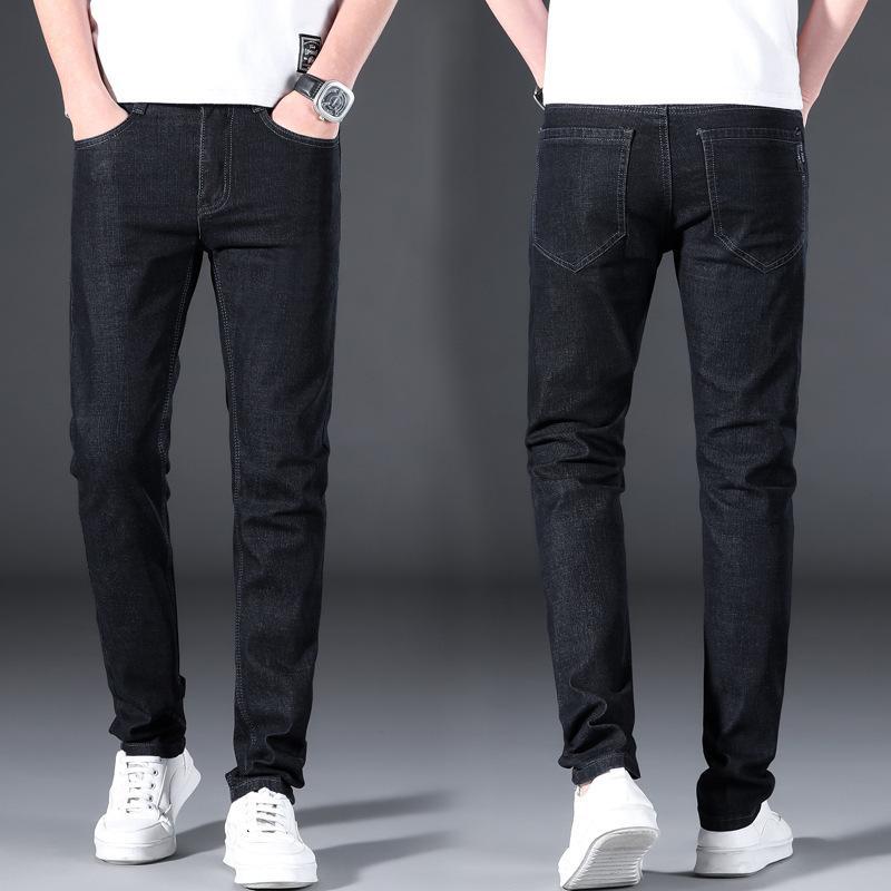 Мужские джинсы 2021 весенний и летний мужской бренд тонкие маленькие прямые брюки корейской моды универсальные черные джинсы