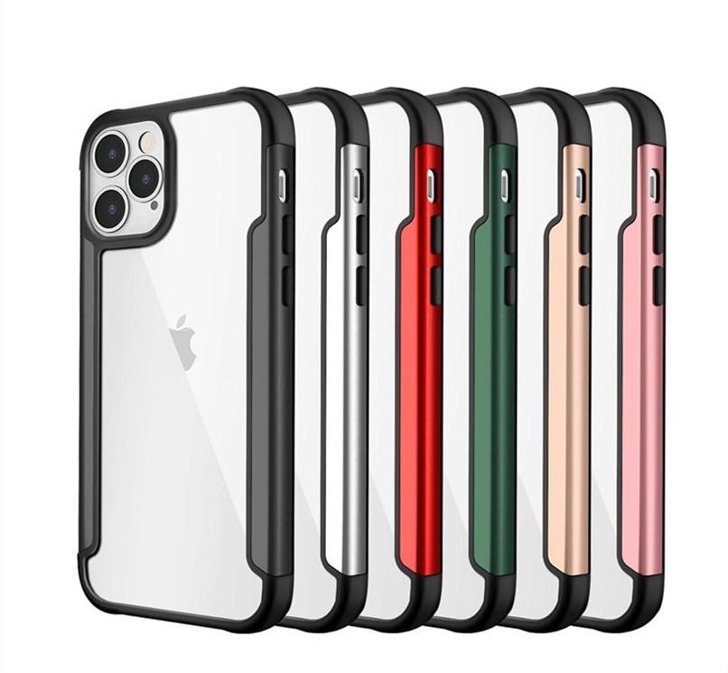 Прозрачные чехлы телефона TPU для iPhone 12 Mini Pro Max 6 7 8 Plus 11 XR XS защитная металлическая доспехась