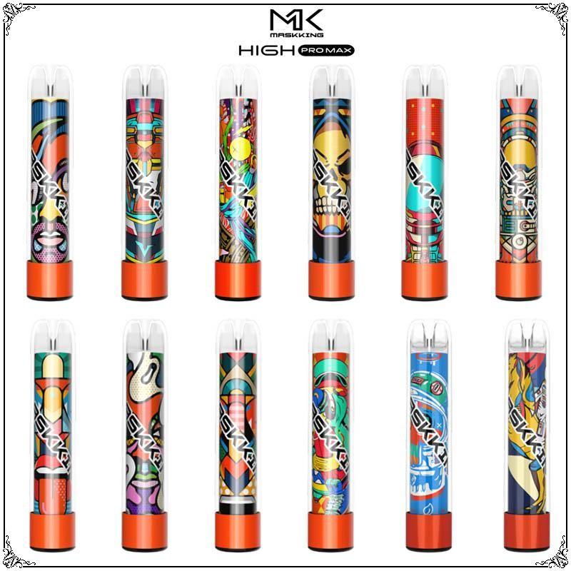 Original Maskking High Pro MAX-Einweg-Vape-elektronische Zigaretten 1500 Puffs 4,5ml-Patrone bereit, transparentes Mundstück zu verwenden 13 Farben Mk-Dämpfe Großhandel