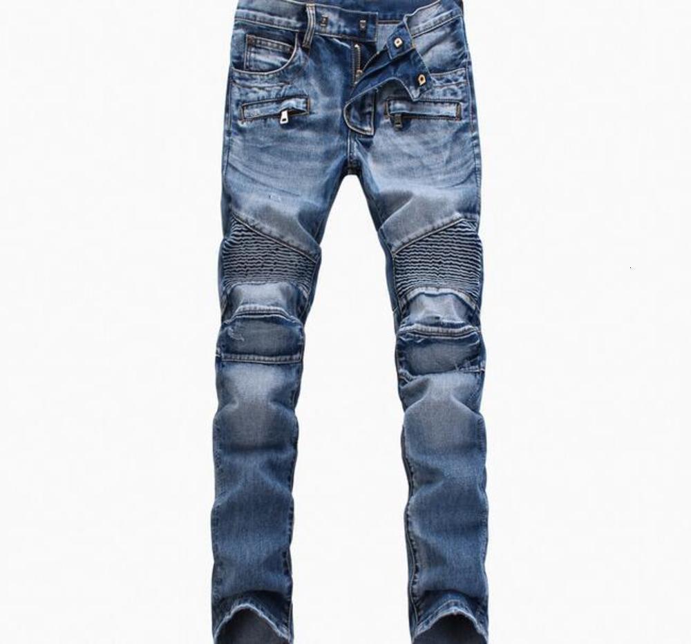 En gros bleu / noir Détruit hommes Slim Denim Denim Droit Biker Skinny Jeans Casual Hommes Hommes déchirés Jeansnz01