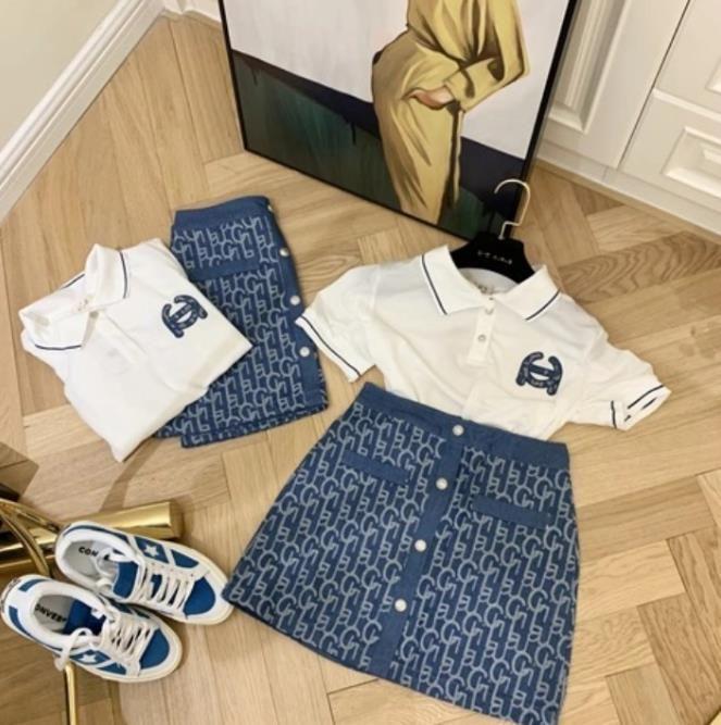 Kadın Moda Küçük Koku Takım Elbise Nakış Polo Yaka Üst Derin Mavi Denim Mektubu Jakarlı Tek Göğüslü Yüksek Bel Etek