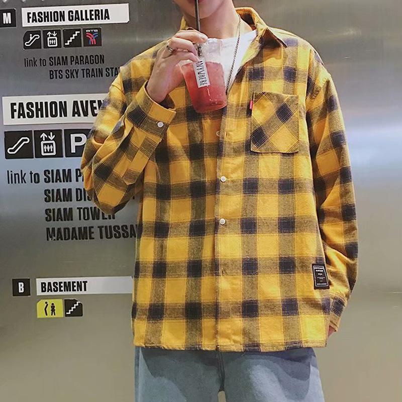 캐주얼 격자 무늬 셔츠 남성 한국어 느슨한 긴 소매 셔츠 자켓 봄 커플 젊은 사람들과 크기 탑스 남자