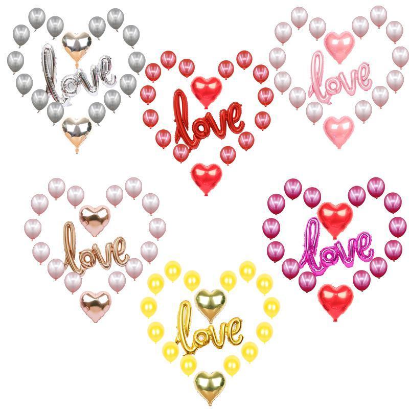 Palmera de aluminio Globos Amor Látex Romántico Día de San Valentín Compromiso Confesión de Boda Confesión Evento Decoraciones Decoración Decoración