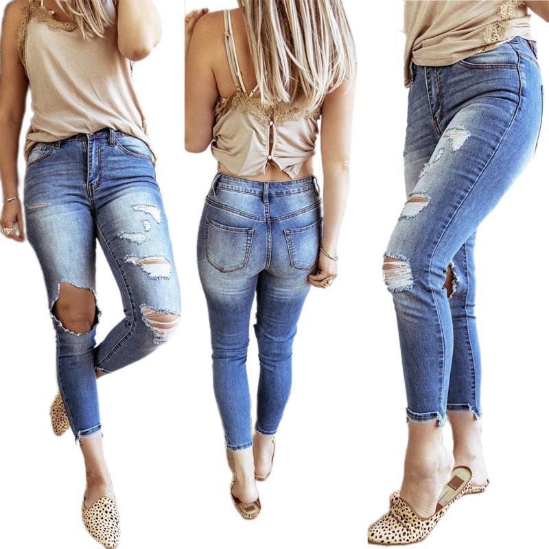 Kadın Kot Kadınlar Yüksek Streç Ayak Bileği Uzunlukta Slim Fit Denim Pantolon Yıkanmış Big Hole Yırtık Demin Jeggings Bayanlar Sıska Pantolon