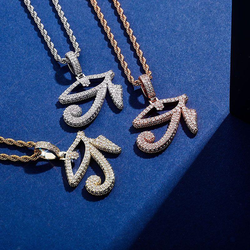 Новый глаз HORUS кулон ожерелье с теннисным цепочком Золотой цвет замороженный кубический цирконий хип-хоп рок-ювелирные изделия подарок для женщин мужчин 826 R2