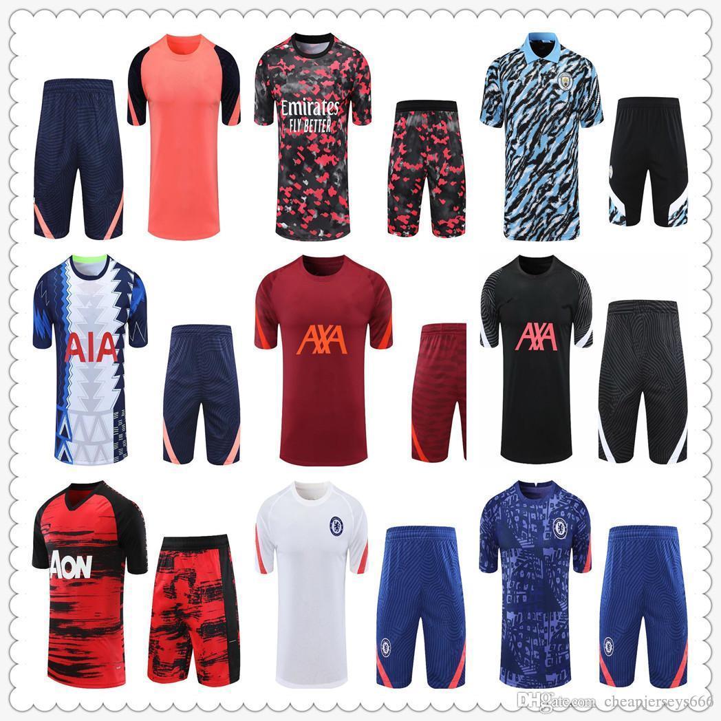 Erkek Kiti Şort Kısa Kollu Eğitim Takım Formalar Polo Futbol Eşofman 21 22 Futbol Jersey Chandal Futbol Survetement Ayak Maillot de