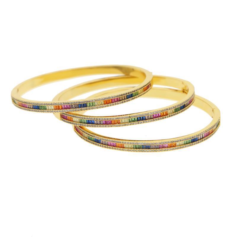 Bracelets de charme cadeau de Noël couleur or rainbow baguette cz bracelet pour dame délicate 2021 dernier bijoux de mode magnifique