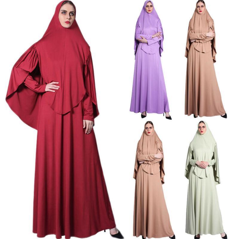 Ethnic Clothing Ramadan Islamic Prayer Khimar Hijab Long Dress Women Muslim Abaya Kaftan Jilbab
