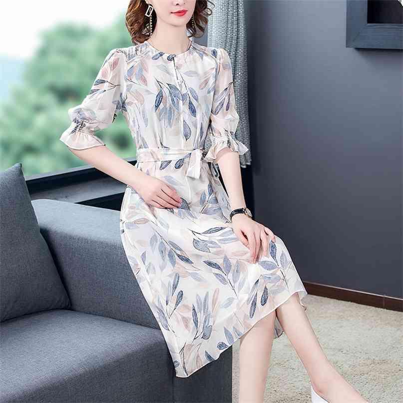 Frauen Elegante Blumen Maulbeer Seidenstrand Midi Kleid Sommer Vintage 3XL Plus Size Print Sommergut Bodycon Party Vestidos 210603