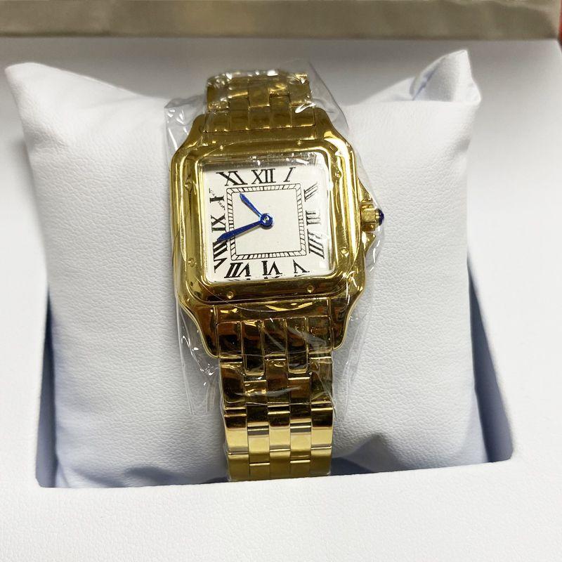 Женщины Часы 22 * 30 мм 27 * 30 мм Набор Высокое Качество Золото / Серебро Нержавеющая Сталь Кварцевая Батарея Женская Часы CD001